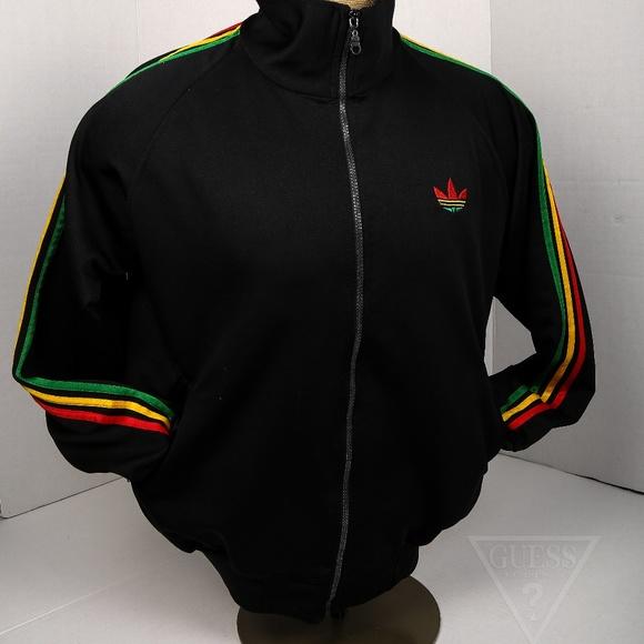 Mens L Adidas Rasta Track Jacket Red